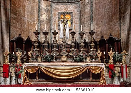 Altar of the Pantheon. Details and the interior of the ancient Roman temple Pantheon Rome Italy. Built by Agrippa on 27 BC was a temple for all the gods of ancient Rome. It is a Christian church from 609.