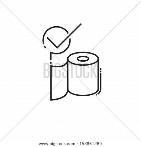 toilet paper in stock. modern icon of thin lines roll of toilet paper isolated on white background