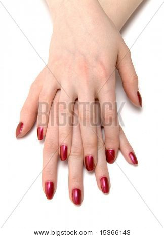 Two woman hands with red nails.