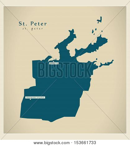 Modern Map - St. Peter AG Antigua and Barbuda vector