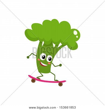 Happy ripe broccoli riding a skate, cartoon vector illustration isolated on white background. Cute funny broccoli character riding a skateboard, doing sport, fitness motivation for kids