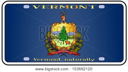 Vermont license plate in the colors of the state flag with the flag icons over a white background