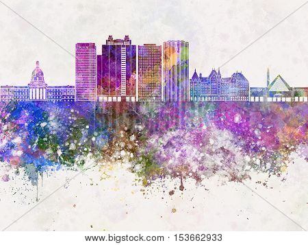 Edmonton skyline artistic abstract in watercolor background