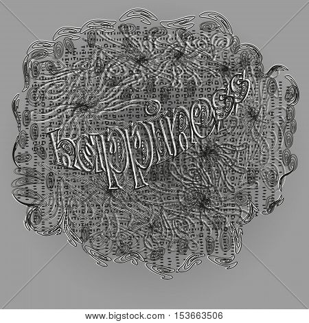 Happiness graphic design Abstract author handmade cloth veil effect black white swirls pattern contour line fashioned dot doodle gray background eps10 vector illustration of the text Stock