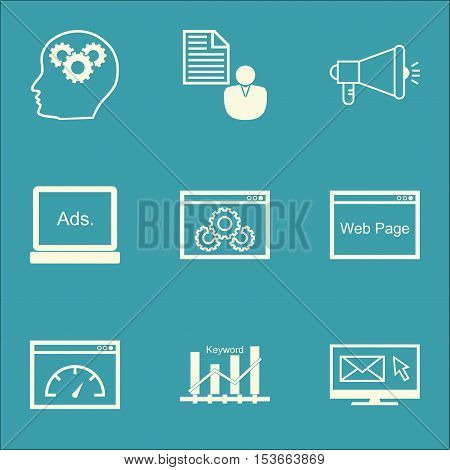 Set Of Advertising Icons On Media Campaign, Report And Digital Media Topics. Editable Vector Illustr
