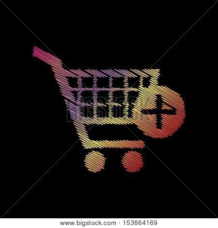 Shopping Cart With Add Mark Sign. Coloful Chalk Effect On Black Backgound.