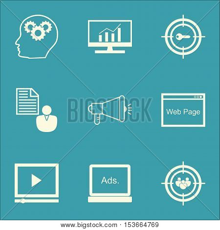 Set Of Seo Icons On Focus Group, Media Campaign And Keyword Marketing Topics. Editable Vector Illust
