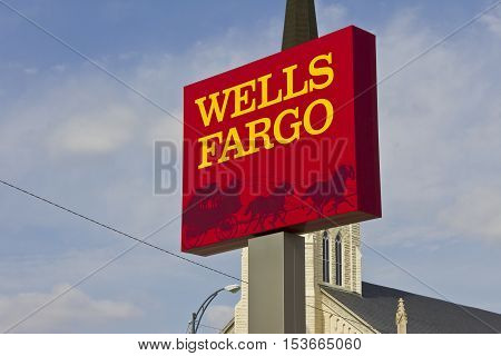 Peru IN - Circa March 2016: A Wells Fargo Retail Bank Branch. Wells Fargo is a Provider of Financial Services IV