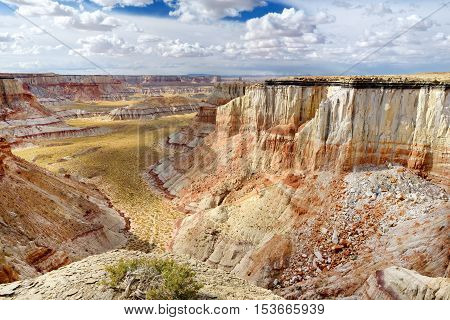 Scenic view of stunning white striped sandstone hoodoos in Coal Mine Canyon near Tuba city Arizona USA poster