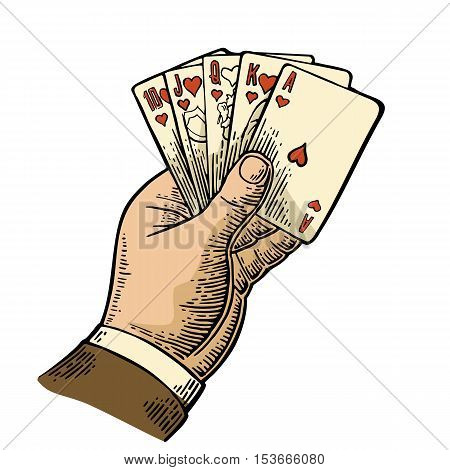 Royal flush in hearts. Male hand holding a game card. Vector color vintage engraving illustration for poster label banner web. Isolated on white background