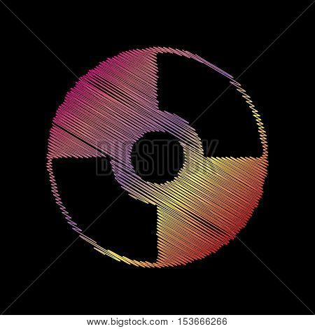 Vector Cd Or Dvd Sign. Coloful Chalk Effect On Black Backgound.