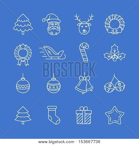 Christmas icon set. Thin line style christmas vector icons. Linear style