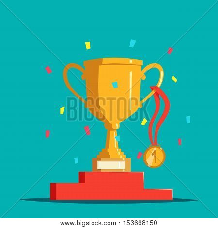 Victory award bowl or cup, medal and pedestal, confetti. Trophy or chalice, golden medallion and base or stand.