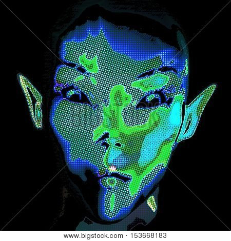 Digital 3D Illustration Render of an Alien