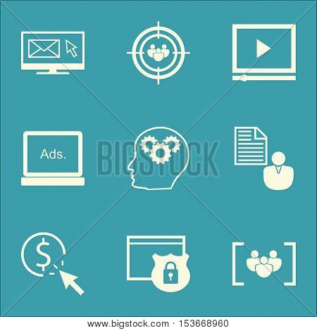Set Of Seo Icons On Video Player, Digital Media And Report Topics. Editable Vector Illustration. Inc