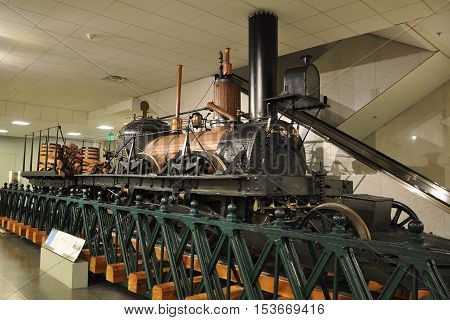 WASHINGTON DC - AUG 10, 2010: Steam Locomotive John Bull in the National Museum of American History, Washington DC, USA. This is the oldest operative self-propelled locomotive in the world.