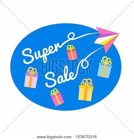 Super sale Concept. Off price special bonus. Big Discount offer promotion. Price drop. Flat design element of season hot deal campaign banner. Background for advertisement event. Vector illustration