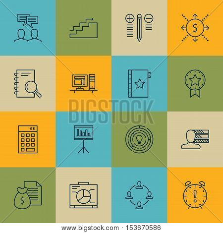 Set Of Project Management Icons On Computer, Time Management And Decision Making Topics. Editable Ve