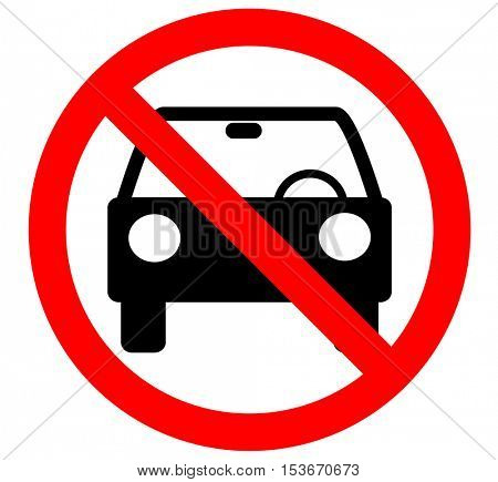 No car or no parking traffic sign,prohibit sign.vector