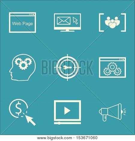 Set Of Marketing Icons On Media Campaign, Ppc And Keyword Marketing Topics. Editable Vector Illustra