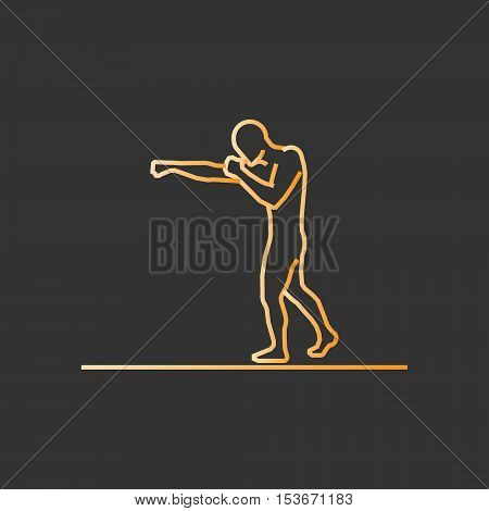 Gold line boxing icon. Vector silhouette of boxer.