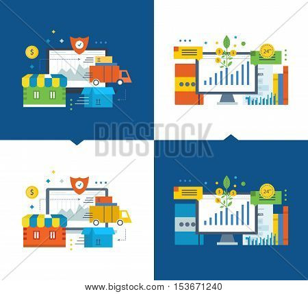 Cycle of the order in the online store, off payment, protection up to delivery to the consumer. Investment fund market, investment growth. Vector illustrations on a light and dark background.