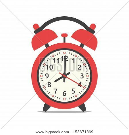 Red alarm clock showing eight o'clock isolated on white background. Flat design. Vector illustration. EPS 8 no transparency