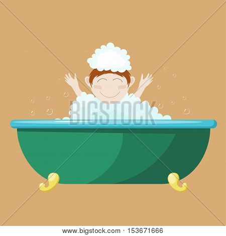 Vector illustration of a small child bathing in a bath. Cartoon drawing of a boy in a bath with foam. Health of children. Water treatments
