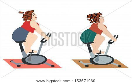 Fat girls are happy to train on the stationary bike. Chubby women in a good mood doing cycling exercise. Vector illustration. Horizontal location.