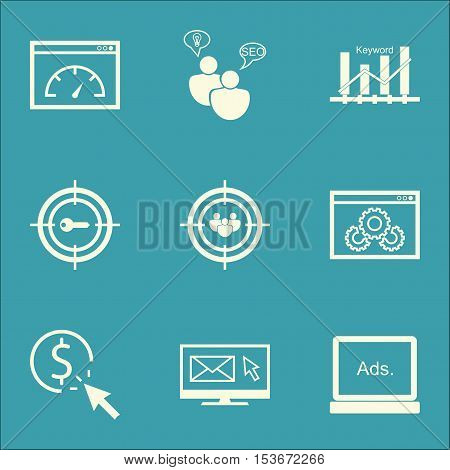 Set Of Advertising Icons On Ppc, Focus Group And Website Performance Topics. Editable Vector Illustr