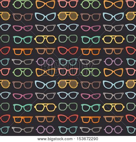 Eyeglasses flat style multicolored vector seamless pattern (on the dark background).