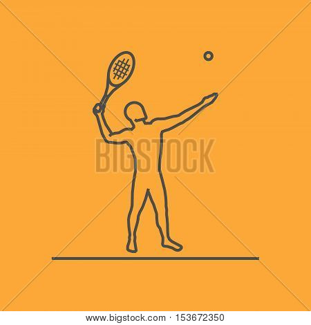 Cool line tennis icon. Vector silhouette of tennis player. Modern outline tennis logo.