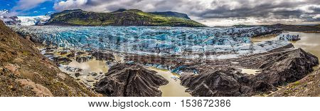 Panorama Of Huge Vatnajokull Glacier And Mountains In Iceland