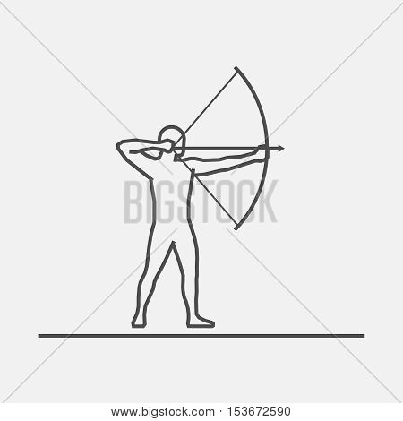 Cool line archery icon. Vector silhouette of archer. Modern outline archery logo.