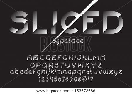Sliced font. Original slice typeface for advertising, logo, labels. Typographic distortion. Vector illustration