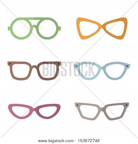 Eyeglasses flat multicolored vector set. Modern minimal design. Part three.