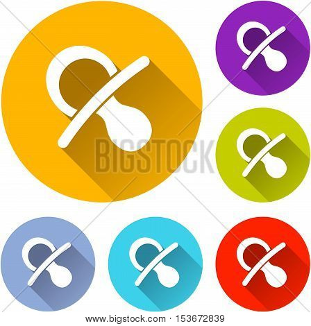 Illustration of six pacifier icons on white background