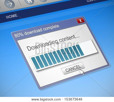 Illustration depicting a computer dialog box with a downloading content concept.