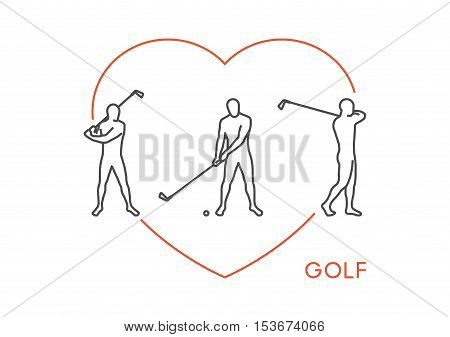 Line stylish logo for golf. Open path. Vector outline figure golfer.
