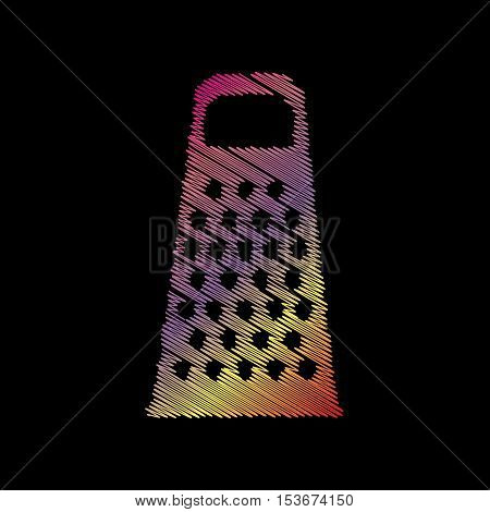 Cheese Grater Sign. Coloful Chalk Effect On Black Backgound.