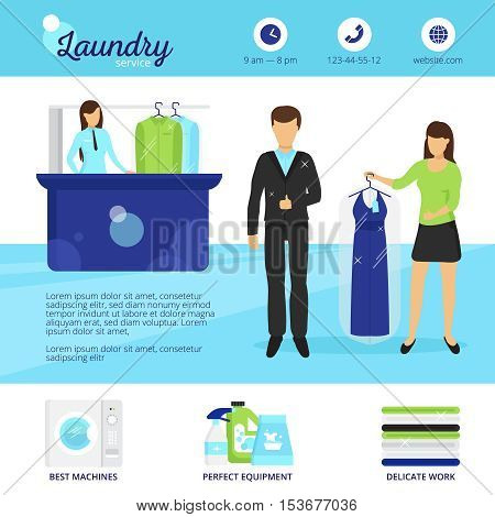 Laundry service with dry cleaning and washing symbols flat vector illustration