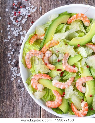 Salad With Lettuce, Shrimp, Avocado And Grapefruit. Delicious Appetizer Of Mediterranean Cuisine