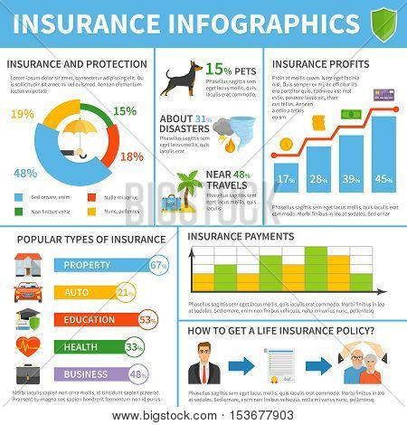 Popular insurance companies types polices coverage profits and annual charges flat infographic poster with diagrams vector illustration