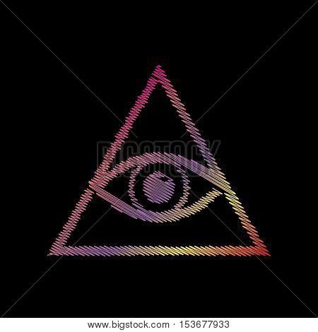 All Seeing Eye Pyramid Symbol. Freemason And Spiritual. Coloful Chalk Effect On Black Backgound.
