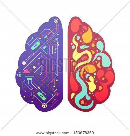 Left and right human brain cerebral hemispheres pictorial symbolic colorful figure with flowchart and activity zones vector illustration