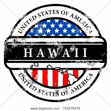 Grunge rubber stamp with name of Hawaii, vector illustration