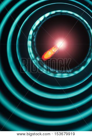 Bright light source on the end of the probe in a tube with concentric rings