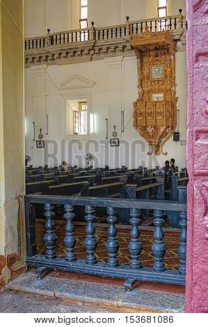 Old Goa, India - November 13, 2012: Interior of Basilica of Bom Jesus or Borea Jezuchi Bajilika in Old Goa. Basilica - UNESCO World Heritage Site and functioning church.