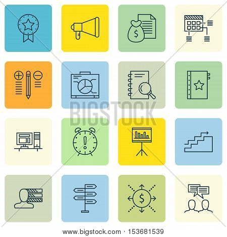 Set Of Project Management Icons On Computer, Personal Skills And Board Topics. Editable Vector Illus