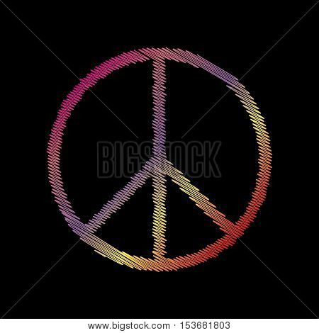 Peace sign illustration. Coloful chalk effect on black backgound.
